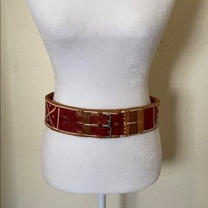 Beautiful red and brown vintage leather belt